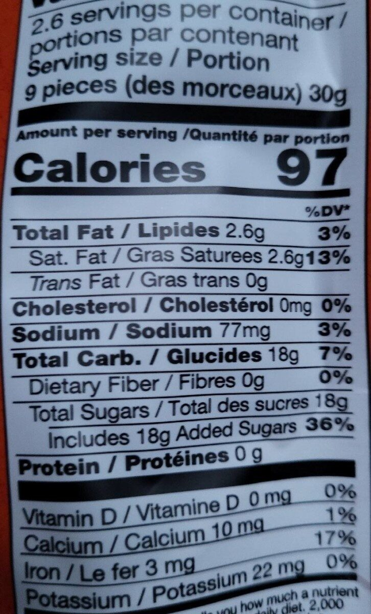 Toasted Coconut Chewy Toffee with Sea Salt - Nutrition facts - en