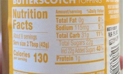 Butterscotch flavored topping - Valori nutrizionali - en