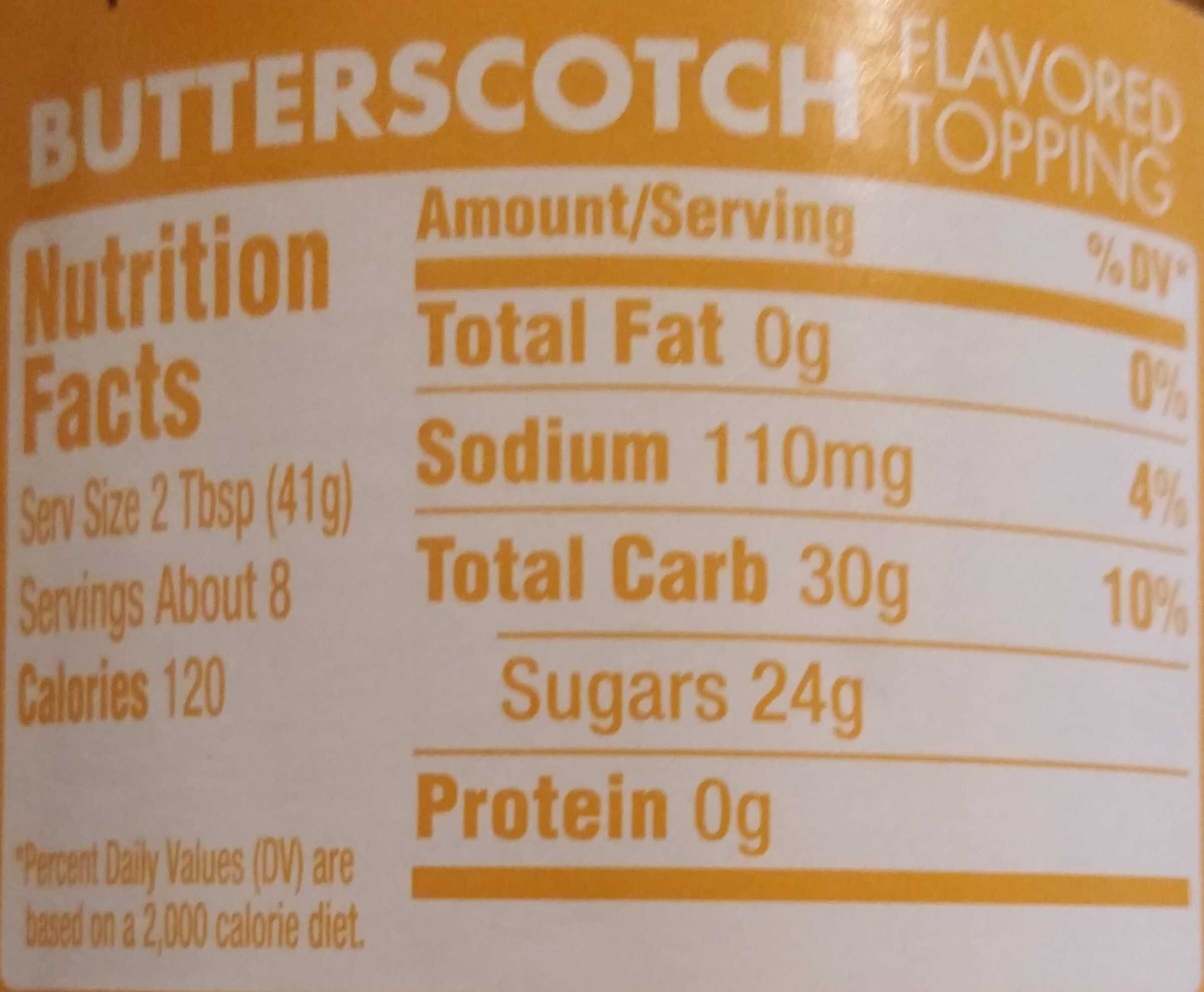Butterscotch Flavored Topping - Nutrition facts - en
