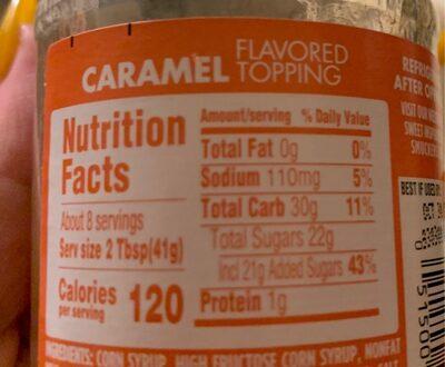 Caramel flavored topping - Voedingswaarden