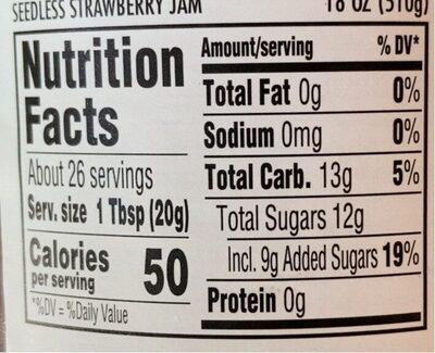Seedless strawberry jam - Nutrition facts - en
