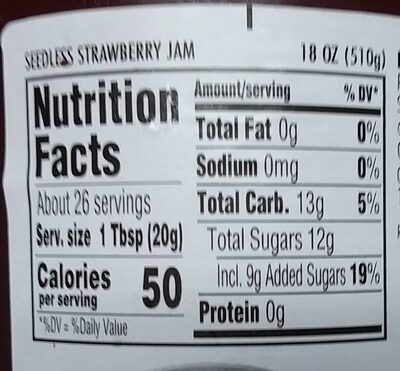 Seedless strawberry jam - Nutrition facts