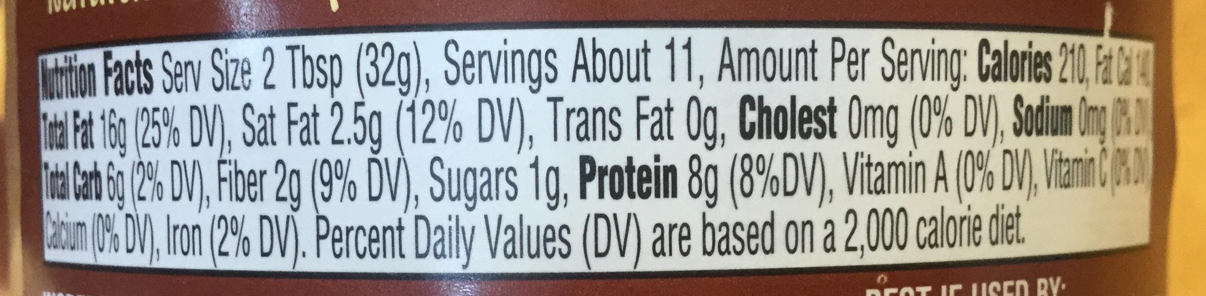 Natural peanut butter - Nutrition facts - en