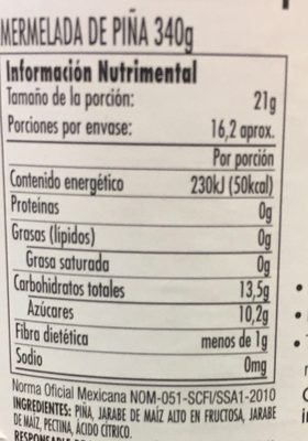 MERMELADA DE PIÑA - Nutrition facts