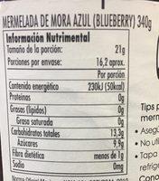 MERMELADA DE MORA AZUL - Informations nutritionnelles - es