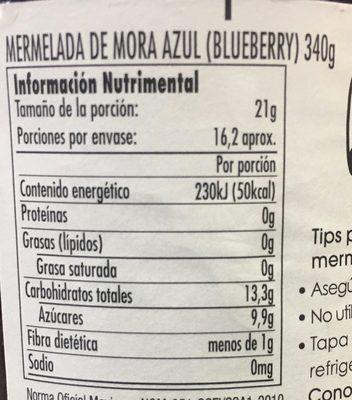 MERMELADA DE MORA AZUL - Voedingswaarden - es