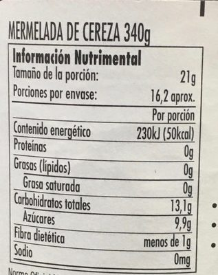 MERMELADA DE CEREZA - Nutrition facts - es