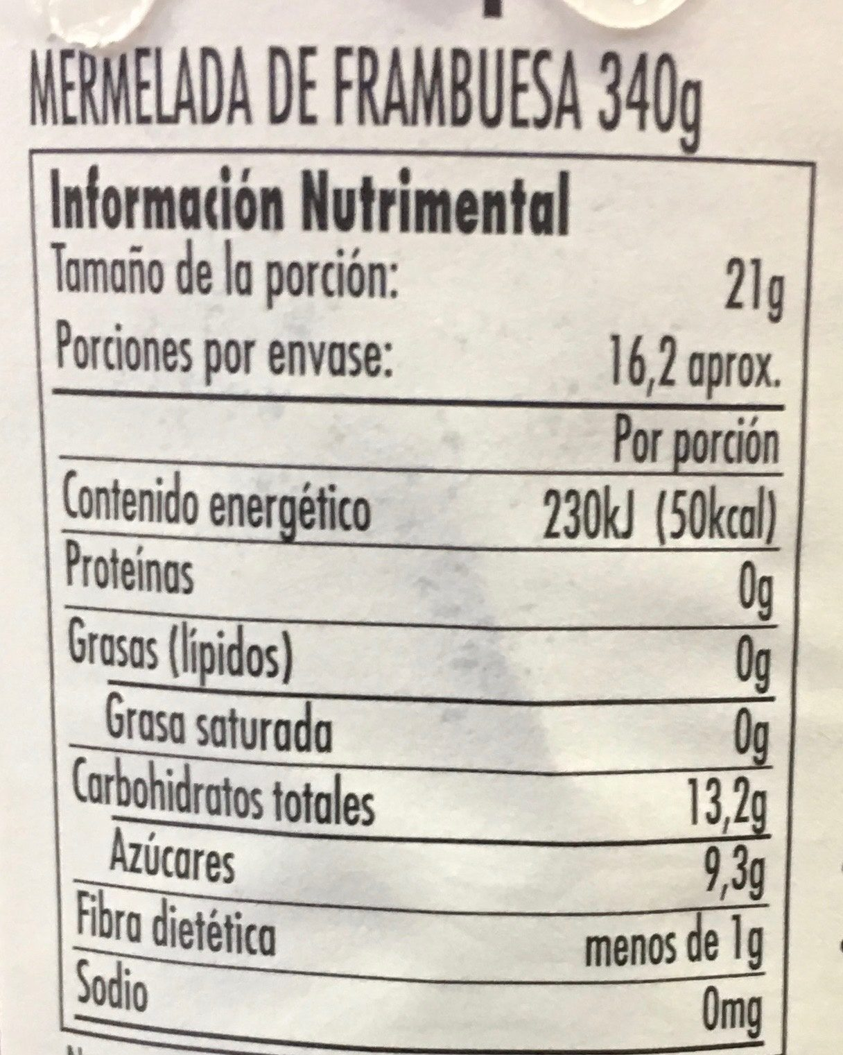 MERMELADA DE FRAMBUESA - Nutrition facts