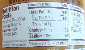 Laura Scudder's Old Fashioned Peanut Butter - Nutrition facts