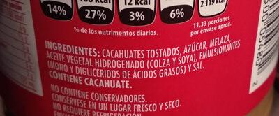Jif Crema de Cacahuate Cremosa - Ingredients - es