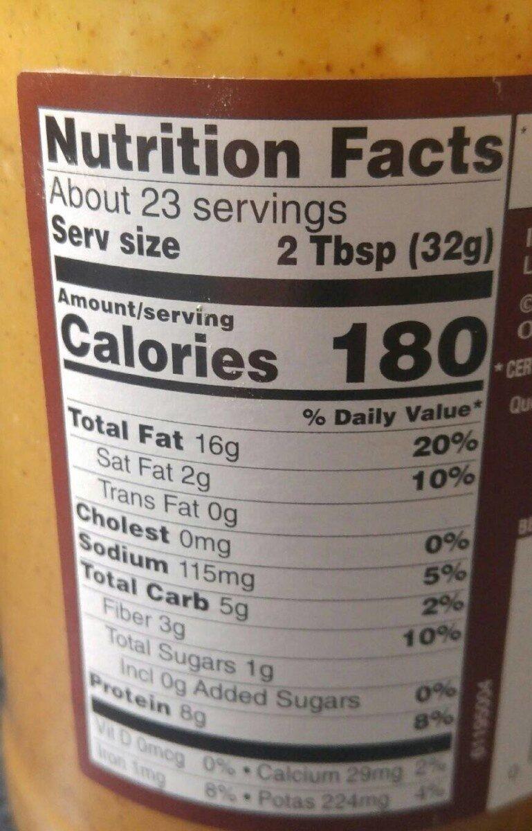Natural creamy peanut butter - Nutrition facts - en