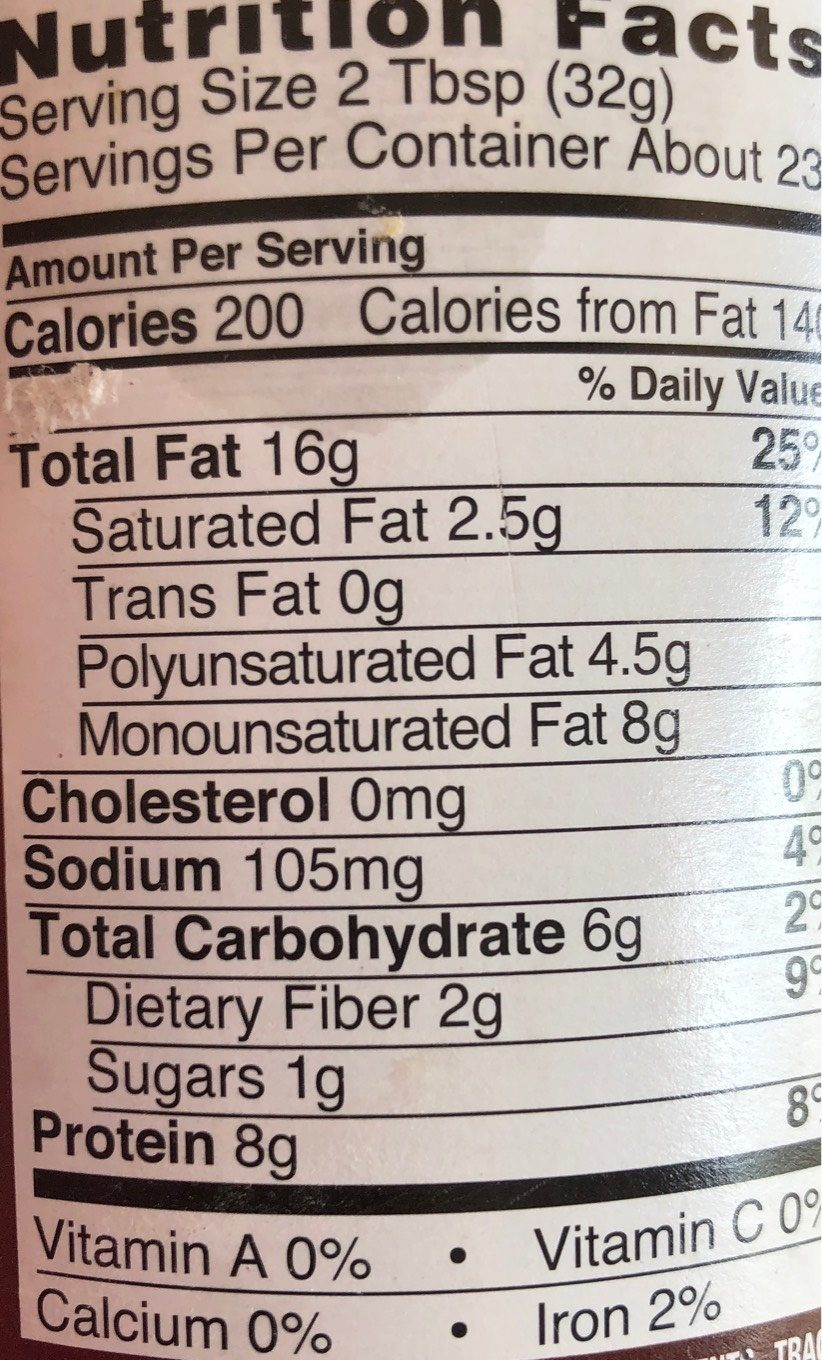 Natural Peanut Butter Creamy - Nutrition facts