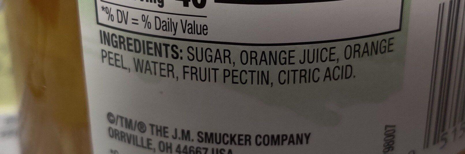Natural orange marmalade fruit spread - Ingredients - en