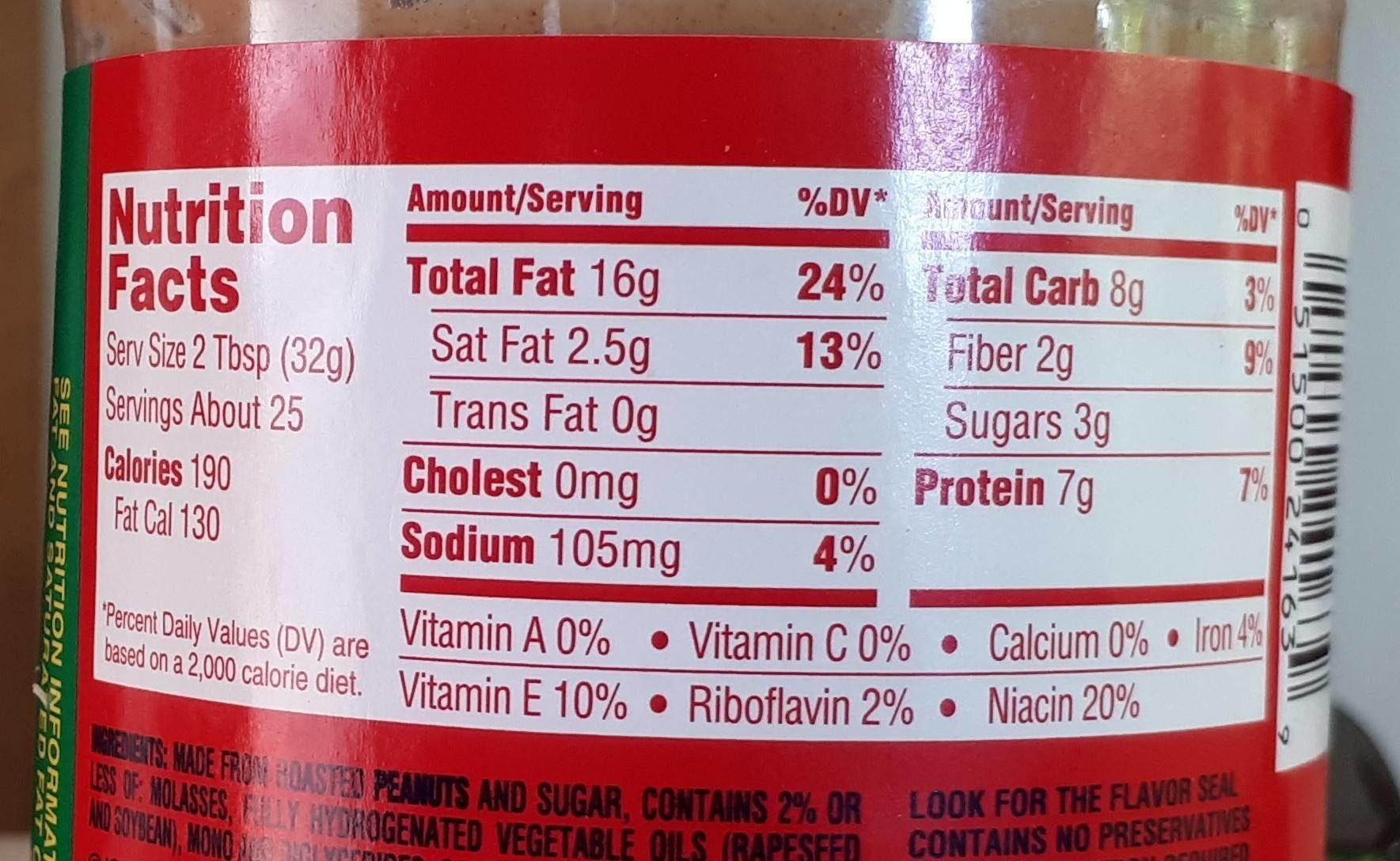 Extra Crunchy Peanut Butter - Informations nutritionnelles - en