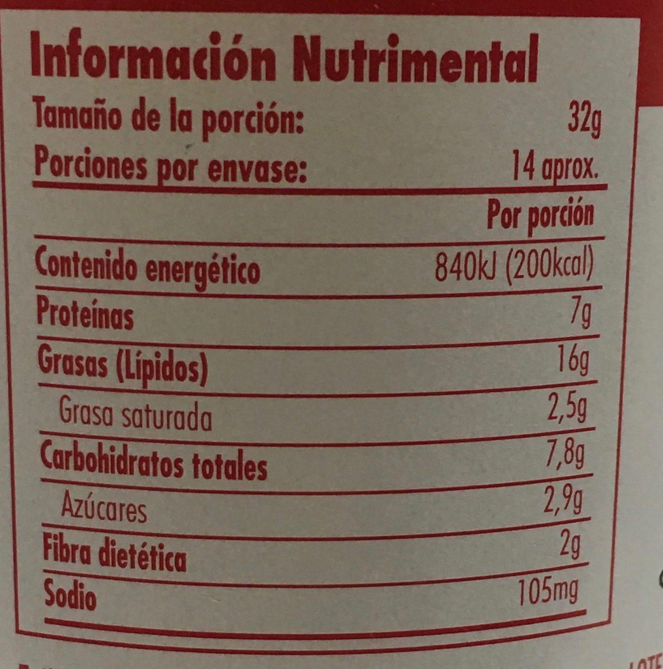 JIF crema de cacahuate con trocitos extra crujiente - Nutrition facts - es