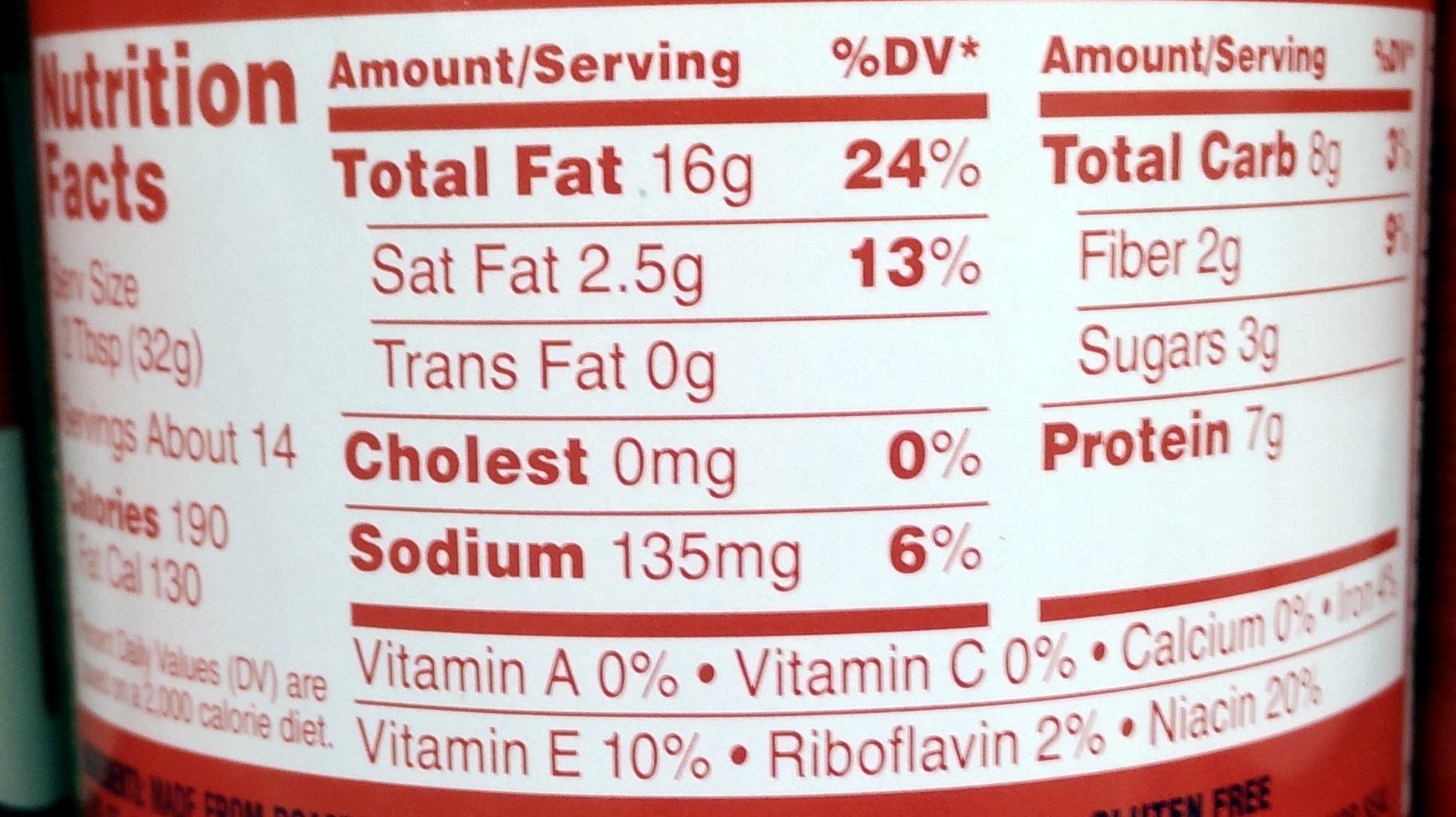 Creamy Peanut Butter - Informations nutritionnelles
