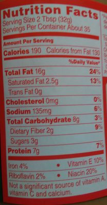 Peanut Butter Creamy - Nutrition facts