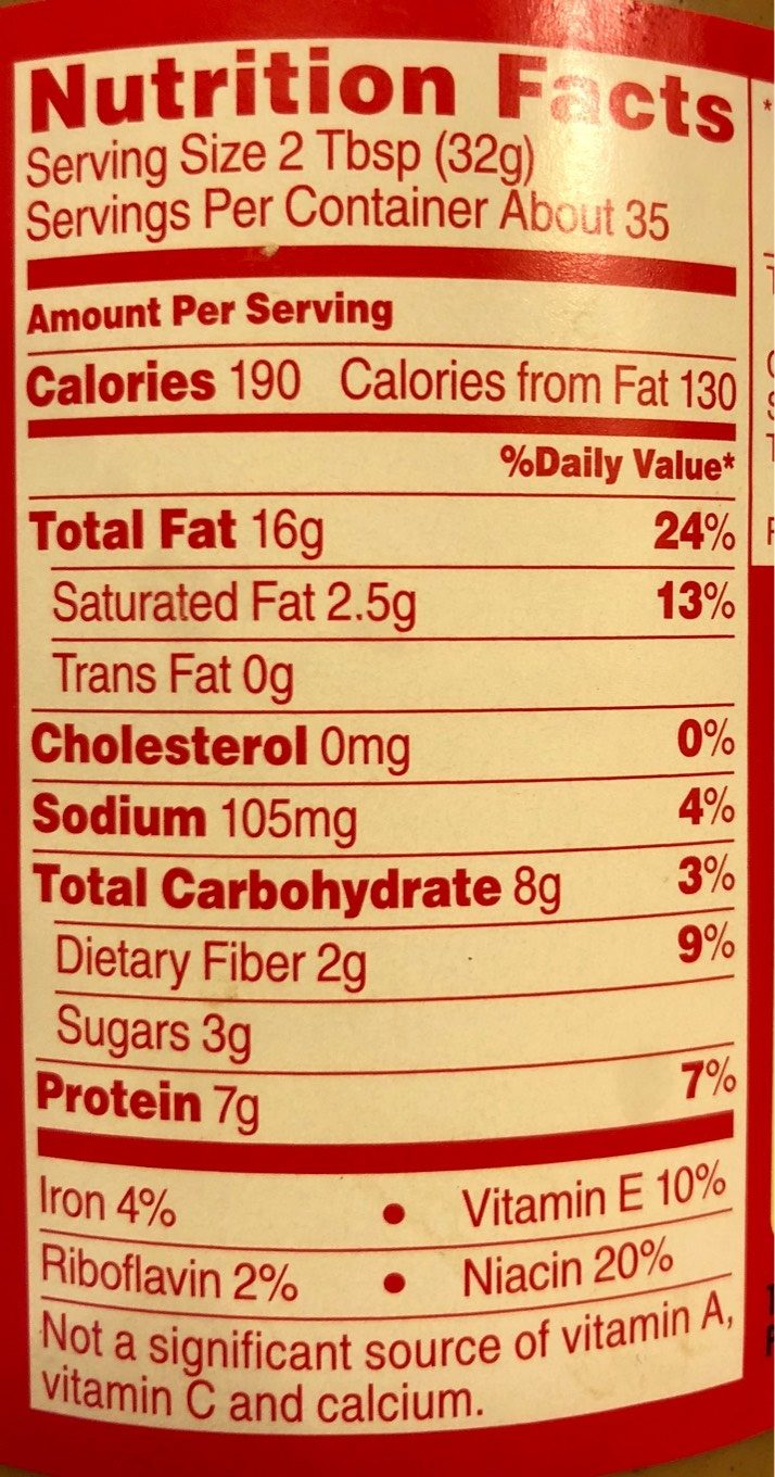 Extra Crunchy Peanut Butter - Nutrition facts