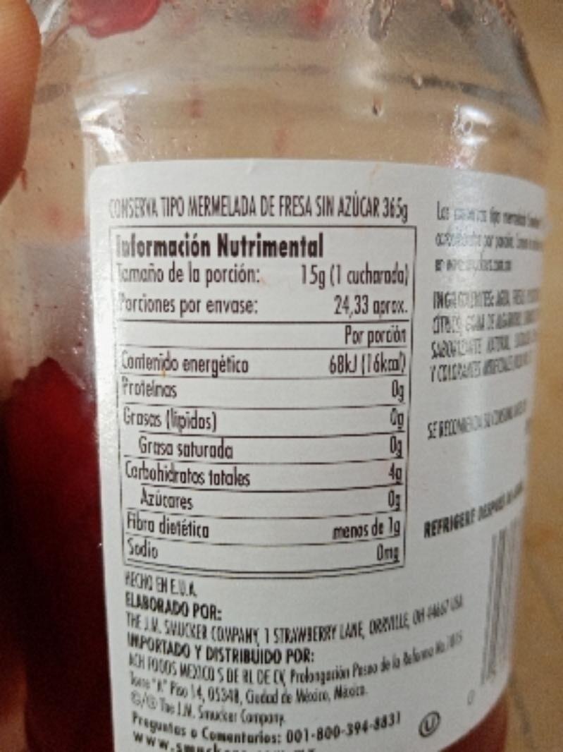 Mermelada de fresa sin azucar - Información nutricional - es