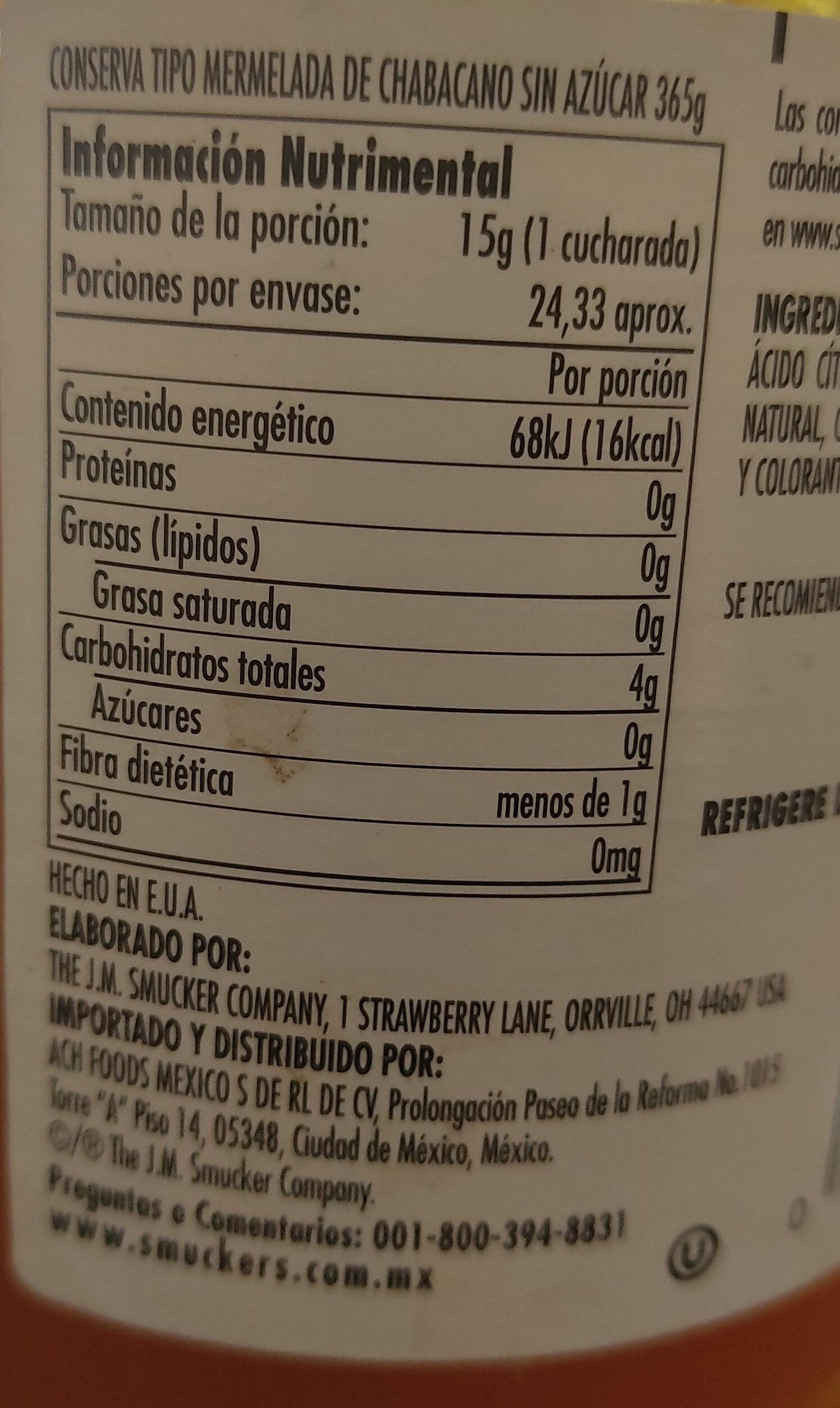 Mermelada de chabacano sin azúcar - Información nutricional - es