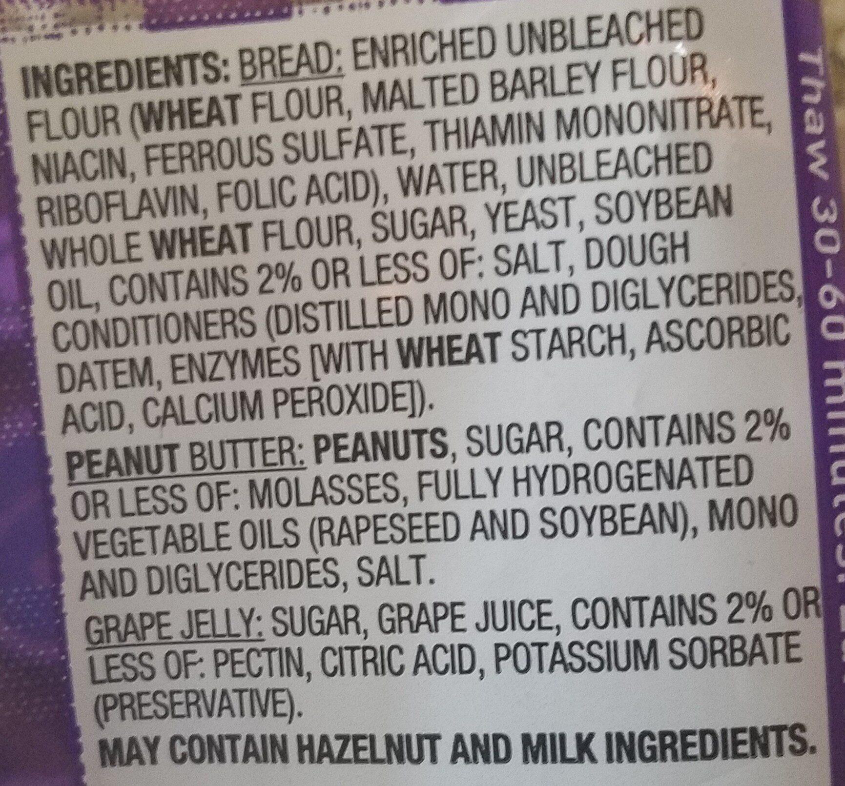 Peanut butter & grape jelly sandwich soft bread - Ingredients - en