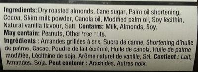 tartinade d'amandes et chocolat noir - Ingredients