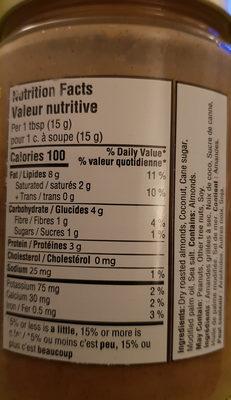 Beurre Crémeux Amande Coconut - Informations nutritionnelles - fr