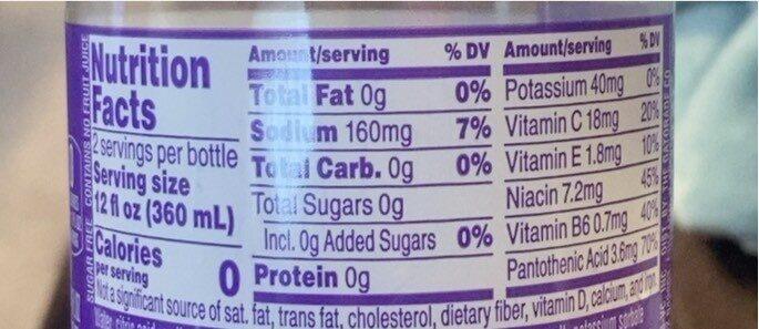 Grape Electrolyte Water Beverage - Valori nutrizionali - en