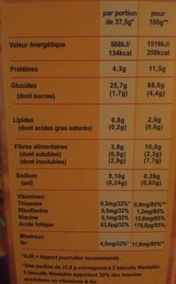 Weetabix Original 430 - Informations nutritionnelles