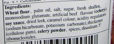 Oriental style instant noodles stew beef flavour - Ingredients