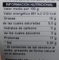Traseros amarillos - Información nutricional