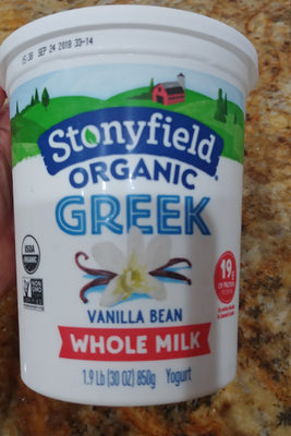 Organic Greek Whole Milk Yogurt, Vanilla Bean - Product