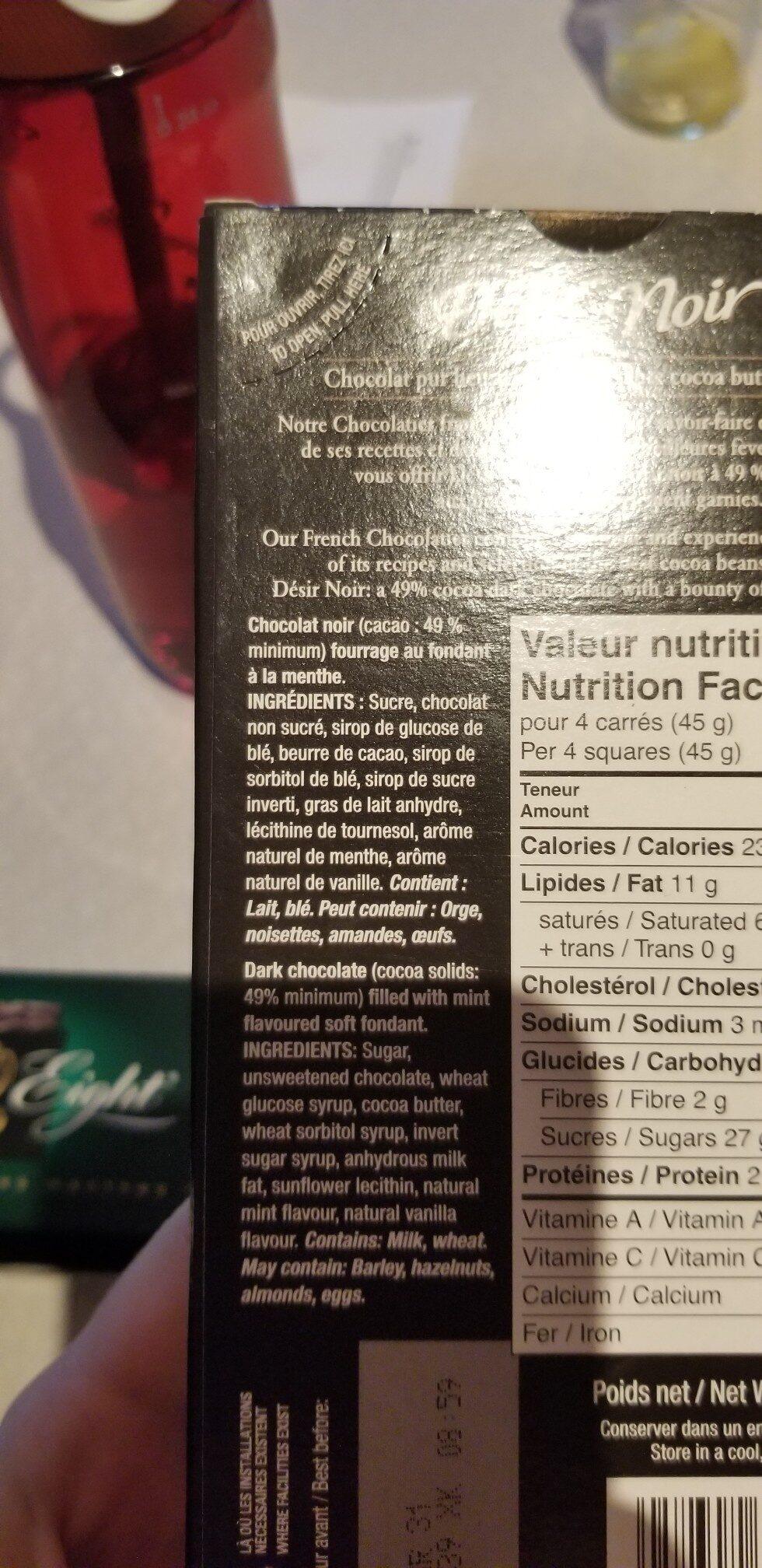 Chocolat noir - fourrage au fondant a la menthe - Ingrédients - en