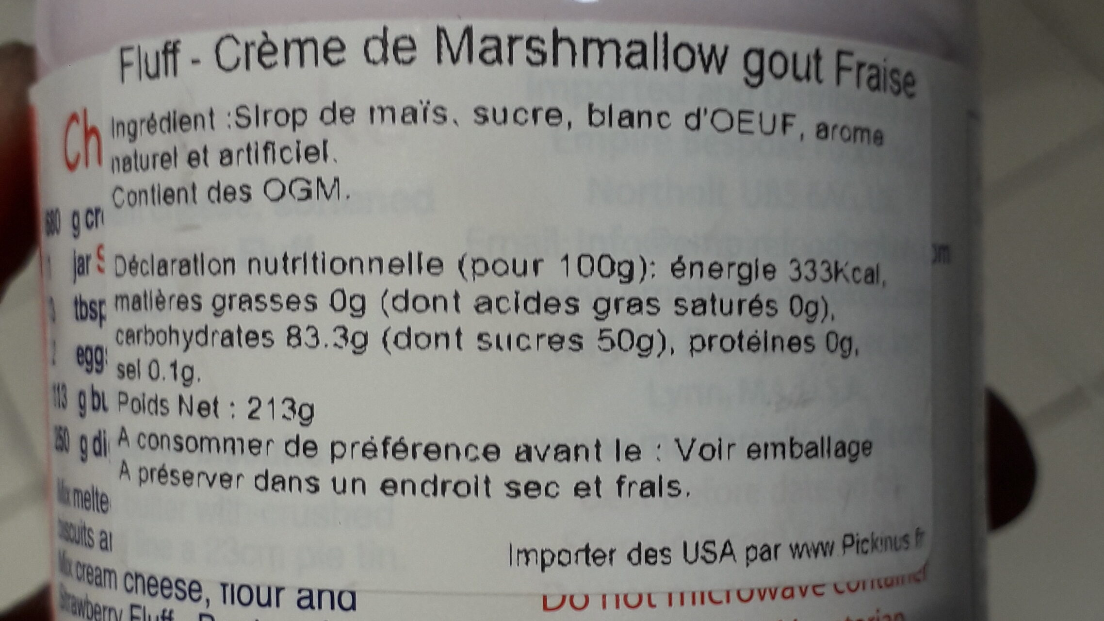 Artificial Strawberry Flavour Marshmallow - Ingredients - fr