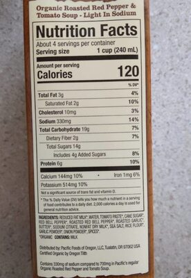 Organic Soup - Nutrition facts
