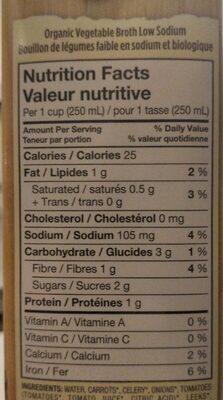 Organic Vegetable Broth - Nutrition facts - en