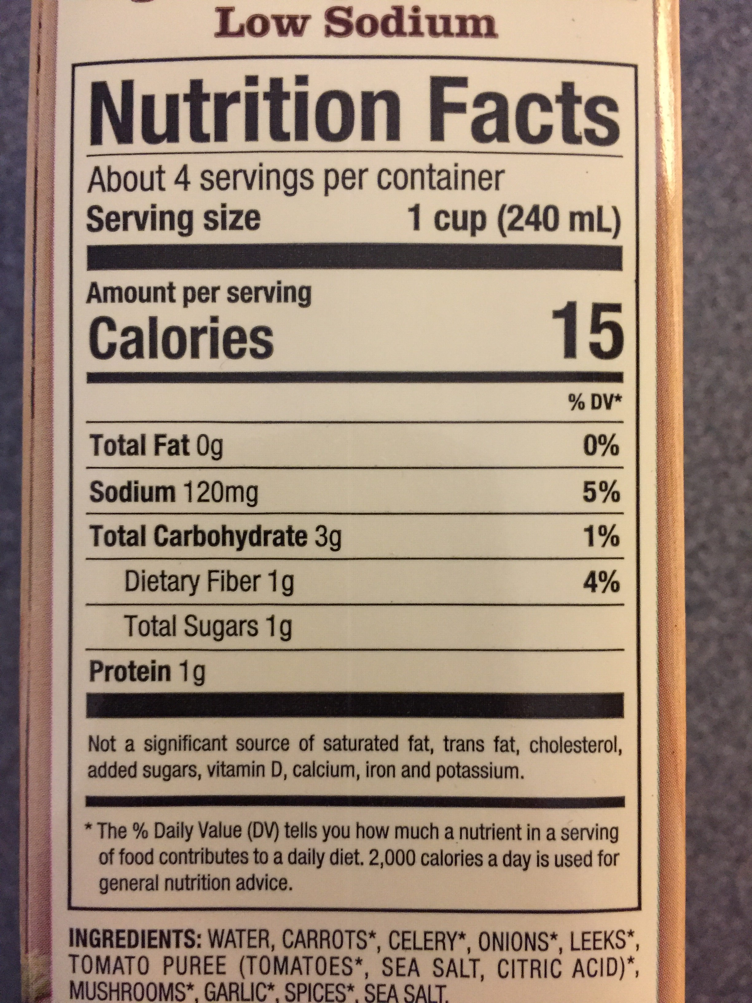 Organic Vegetable Broth - Nutrition facts