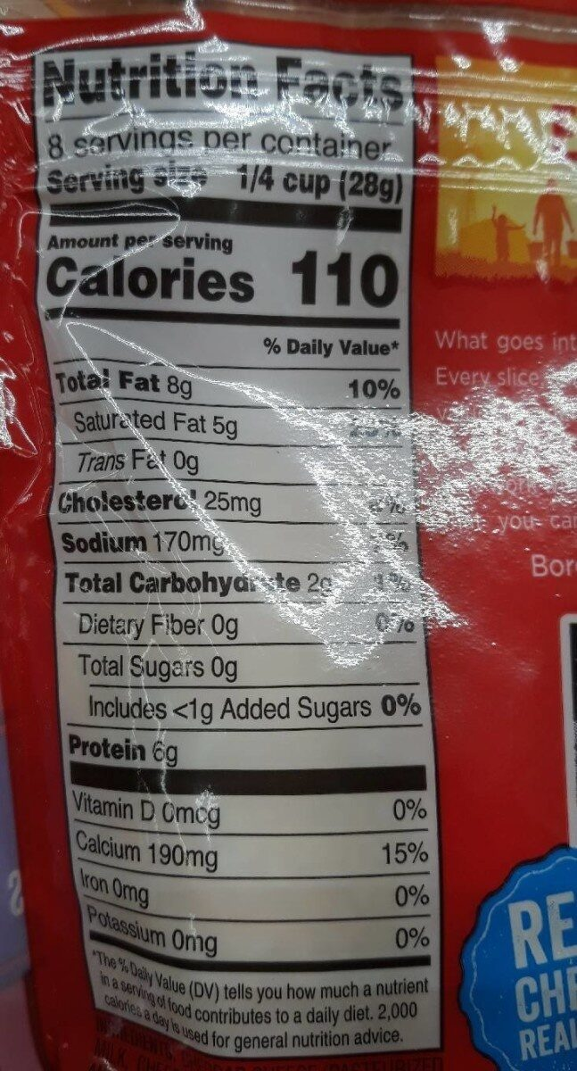 taco cheese - Nutrition facts - en