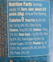 Kosher Dill Wholes Purely Pickles - Nutrition facts - en