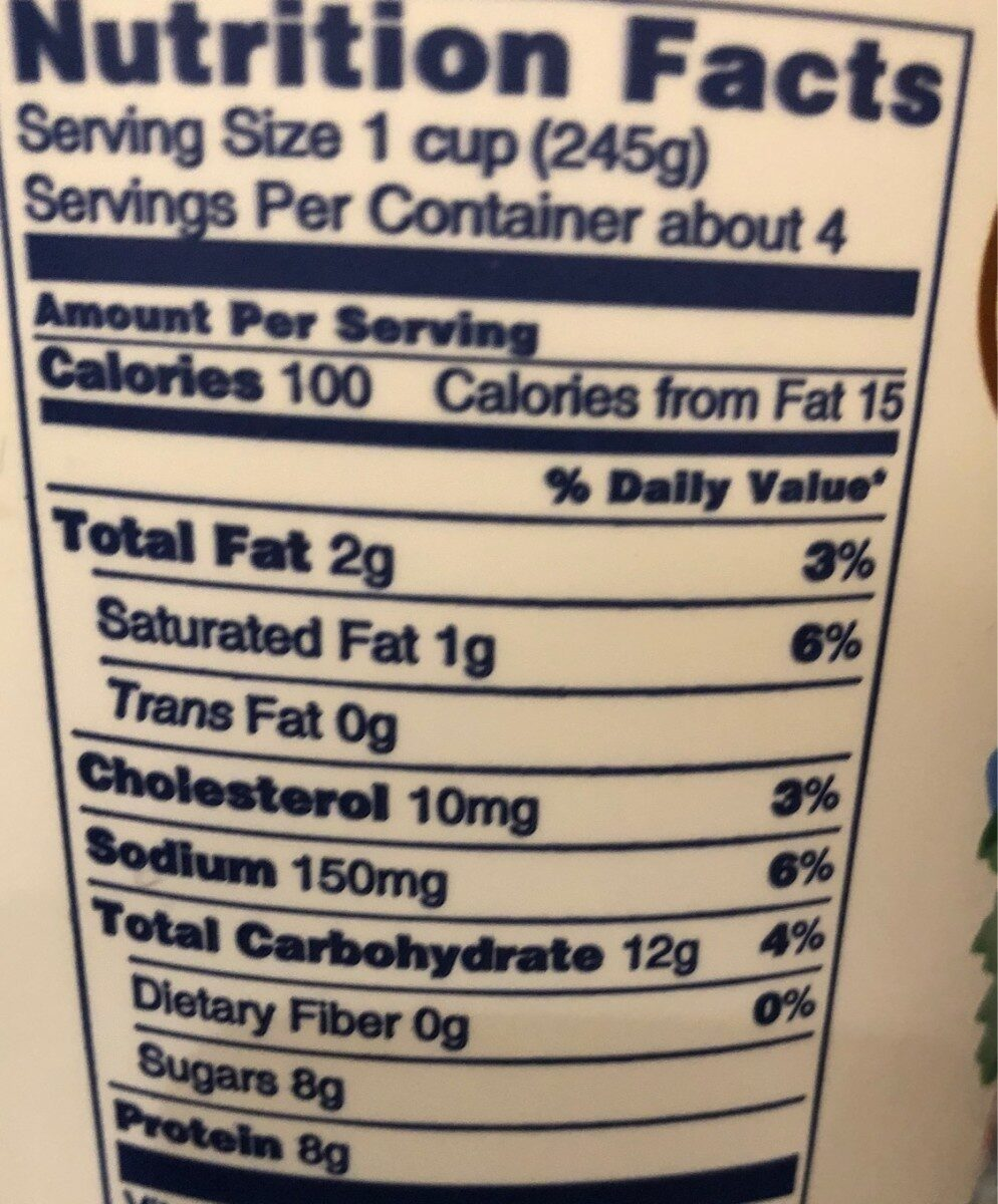 Organic yogurt low fat plain - Nutrition facts - en