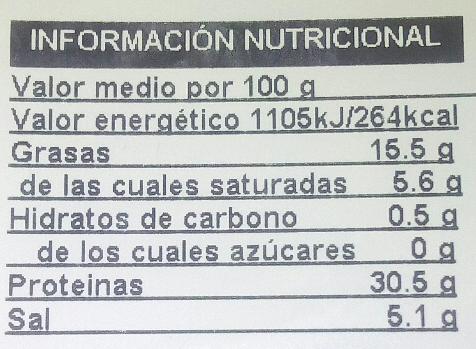 Pernil serrano familiar - Información nutricional