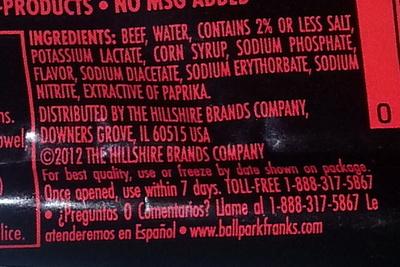 ... Ball Park Lean Beef Franks - Ingredients