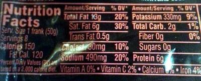Angus beef franks - Informations nutritionnelles - en