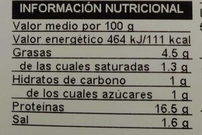 Longaniza fresca - Valori nutrizionali - es