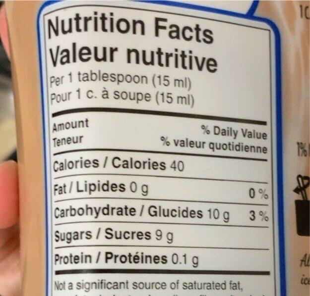 Nescafe ice java syrup - Voedingswaarden - en
