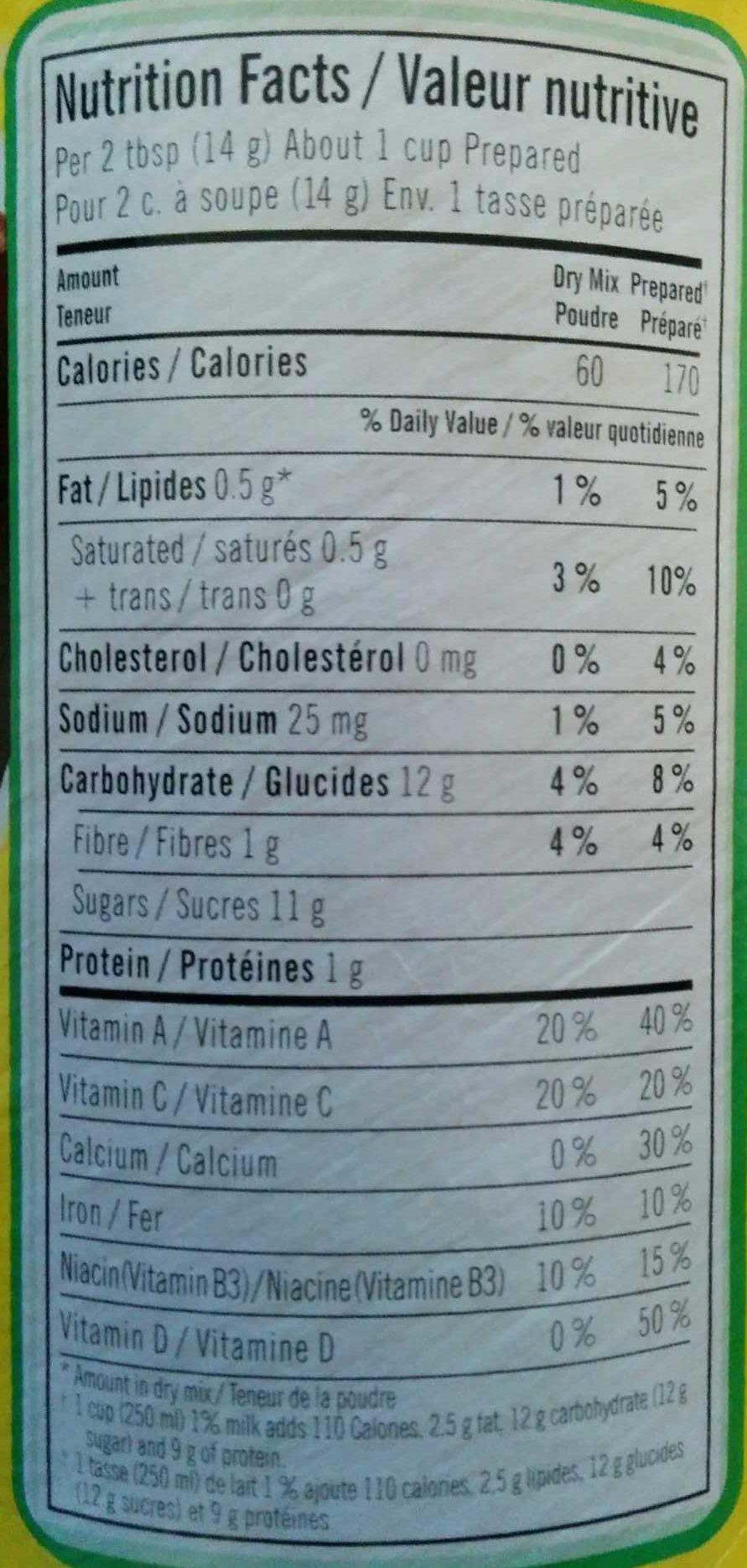 Nesquik Less Sugar - Nutrition facts