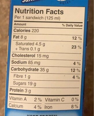 Chocolate chip cookie sandwich - Nutrition facts - en