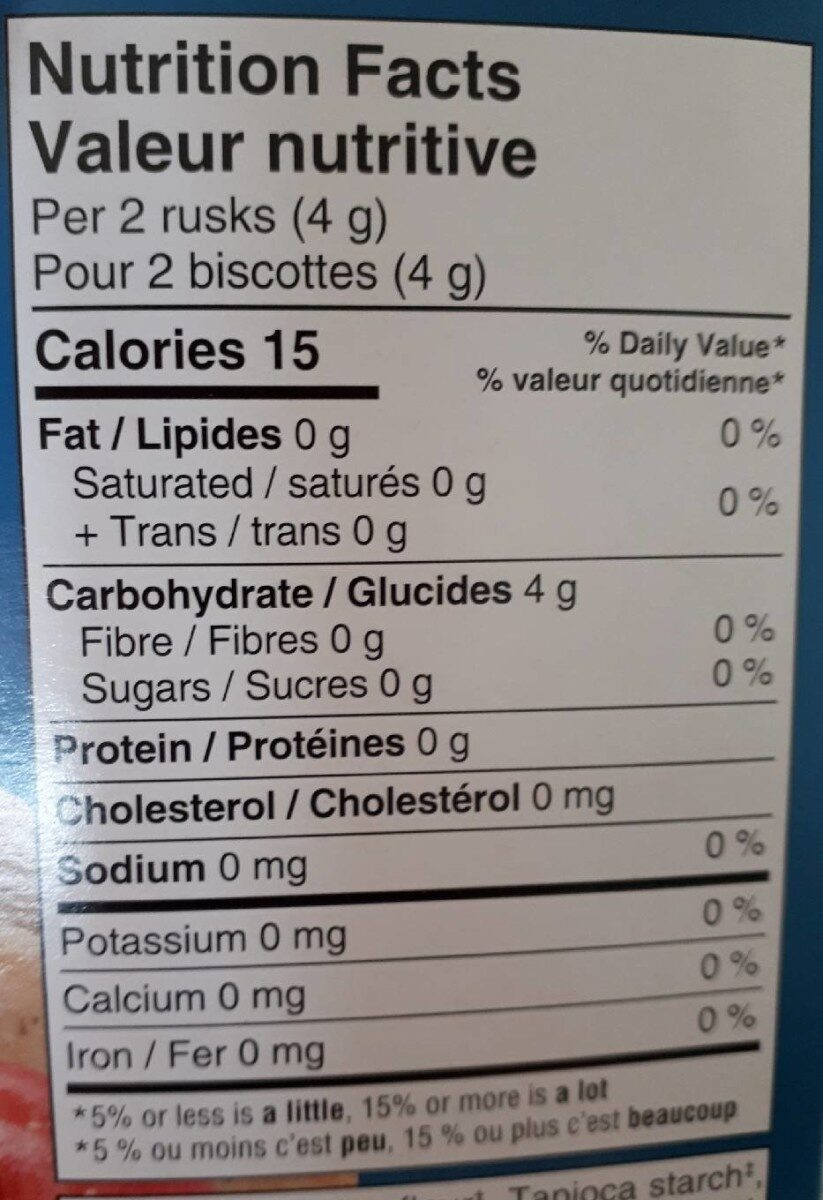 Biscotte de riz - Informations nutritionnelles - fr