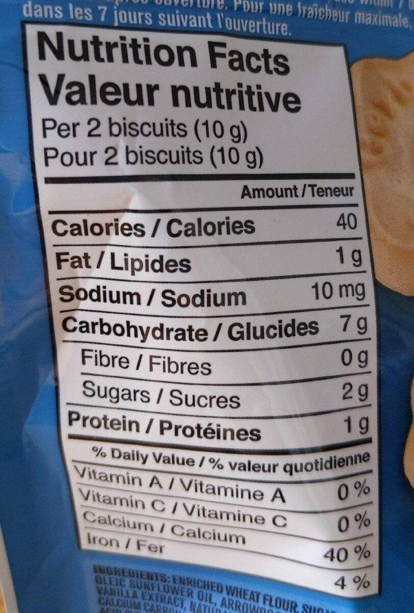 Arrowroot biscuits - Informations nutritionnelles - fr