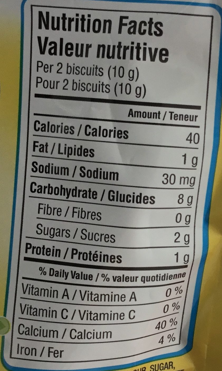 Arrowroot biscuits - Nutrition facts - fr